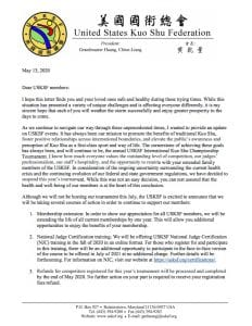 Urgent Message from USKSF President Grandmaster Huang Chien-Liang
